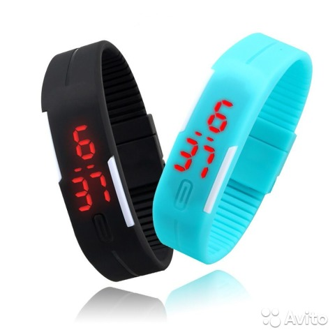 Часы спортивные LED защита от воды цвет sky blue