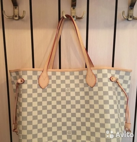 23d98d1a2879 Сумка Louis Vuitton Neverfull Mm Azur Ebene Белая | Festima.Ru ...
