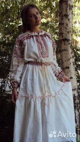 5b4e44eb394 Платье в русском стиле. Лен купить в Москве на Avito — Объявления на ...