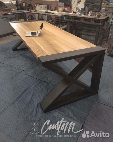 7fa083160f70 Широкий дизайнерский стол в стиле лофт— фотография №1. Адрес  Санкт- Петербург ...