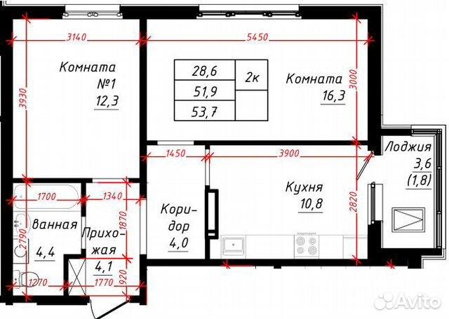 2-к квартира, 53.7 м², 6/16 эт. 89835507191 купить 1