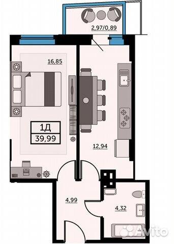 1-к квартира, 39.6 м², 24/25 эт. купить 1