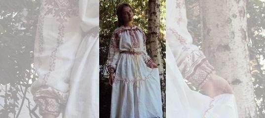 cf20aa9d2bb Платье в русском стиле. Лен купить в Москве на Avito — Объявления на сайте  Авито