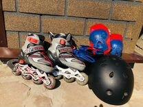 Коньки роликовые, наколенники, налокотники и шлем